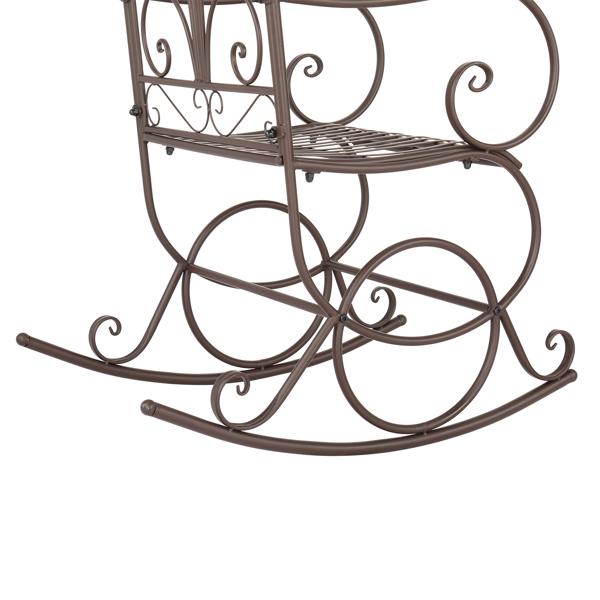 Artisasset Brown Paint Elegant Flower Shape Outdoor Park Leisure Iron Rocking Chair
