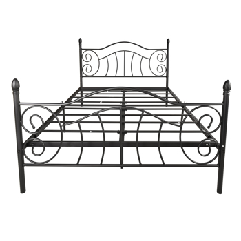 Queen Size Bed Frame Metal Platform Mattress Foundation with Headboard Footboard,Victorian Vintage Style,Easy Assemble,Black