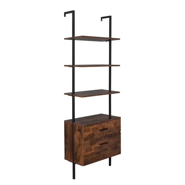 Industrial Bookshelf with Wood Drawers and Matte Steel Frame,Vintage/Black