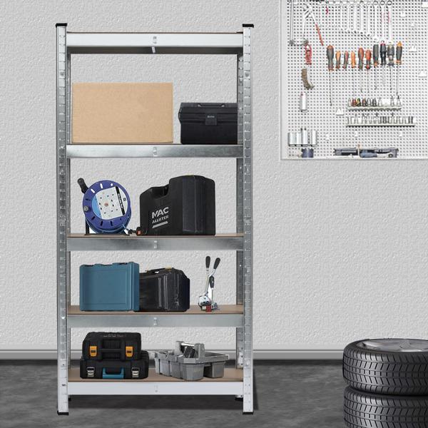 Heavy Duty 5 Tier Metal Galvanized Shelving Rack Unit Garage Storage Shelf Silver UK