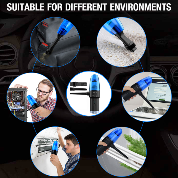 Cordless Rechargeable Air Duster & Vacuum 2-in-1, 8000PA Portable Mini Car PC Handheld Vacuum Cleaner, Electric Compressed Air Blower Duster for Car Computer Keyboard Home PC, Powerful 60,000RPM(亚马逊禁售