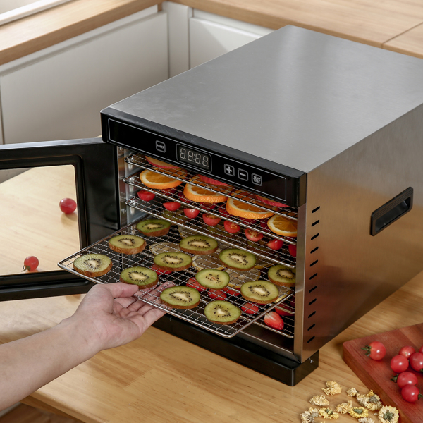 Food Dehydrator (50 Recipes) for Jerky Meat Herbs Fruit, Dryer Machine with Digital Temperature, 6 Stainless Steel Trays,