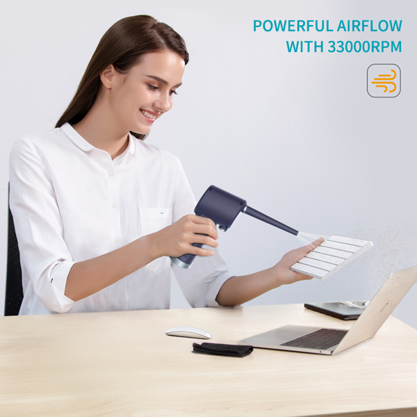 Compressed Air Duster, New Generation Canned Air, 33000 RPM Electric Air Can for Computer Keyboard Electronics Cleaning, 6000mAh Rechargeable Battery, Reusable Dust Destroyer(亚马逊禁售)