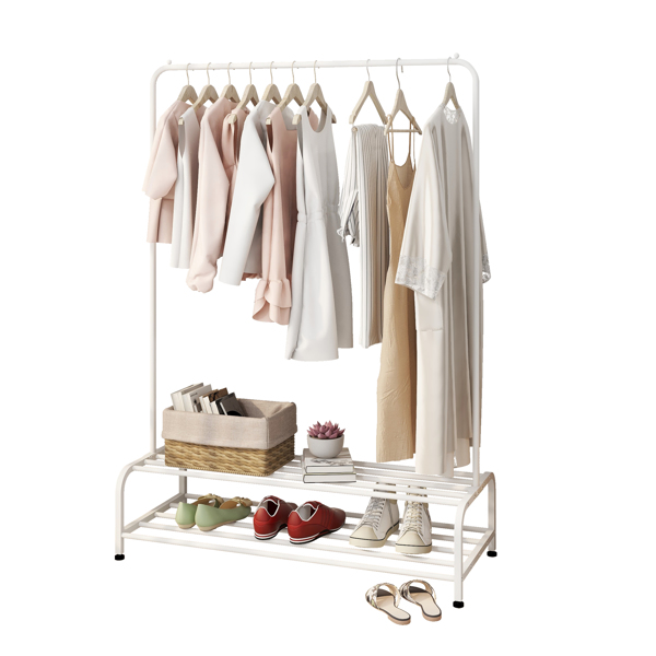 Clothing Garment Rack with Shelves, Metal Cloth Hanger Rack Stand Clothes Drying Rack for Hanging Clothes