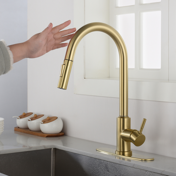 Touch Kitchen Faucet with Pull Down Sprayer-Brushed Gold