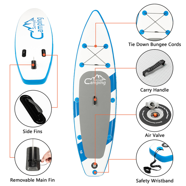 11 Feet Paddle Board Inflatable Surfboard Blue and White