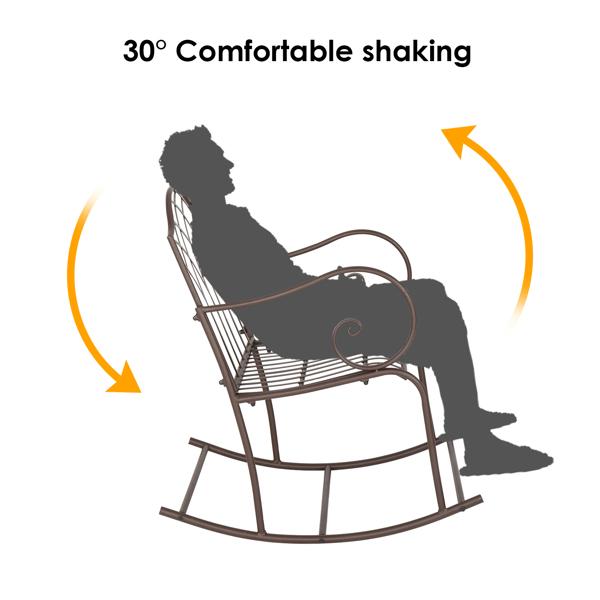 Artisasset Brown Paint Rhombus Shape Outdoor Park Leisure Iron Rocking Chair