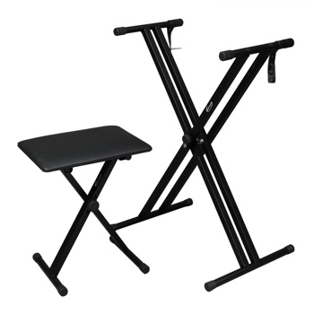 【Do Not Sell on Amazon】Glarry Dual-tube X-Shape Keyboard Stand and Folding Piano Bench Stool Seat