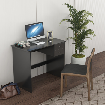 Computer Desk with 2 Pull Out Storage Drawers and Stable Wooden Frame, Black