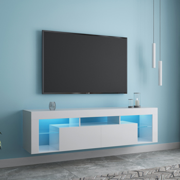 """FURNITURE & RUGS TV Stand 160 LED Wall Mounted Floating 63"""" TV Stand (White"""