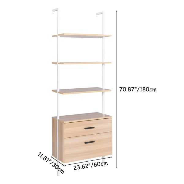 Industrial Bookshelf with Wood Drawers and Matte Steel Frame,Nutural/White