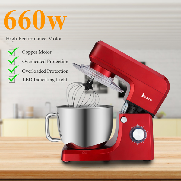ZOKOP ZK-1511 Chef Machine 7L 660W Mixing Pot With Handle Red Spray Paint
