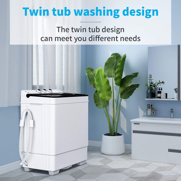 Twin Tub with Built-in Drain Pump XPB65-2168S 26Lbs Semi-automatic Twin Tube Washing Machine for Apartment, Dorms, RVs, Camping and More, White&Black US Standard