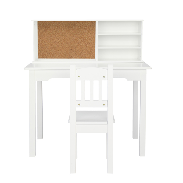 Painted Student Table and Chair Set A, White, 5-layer Desktop, Multifunctional (80*50*88.5cm)