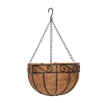 "Artisasset  4pcs 14"" Black Painted Round Wrought Iron Coconut Palm Hanging Basket"