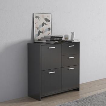 "Storage Cabinet with 2 Drawers & 3 Side Cabinet, 30.3"" L Bathroom Floor Storage Cabinet, Cupboard, Pantry Cabinet, Wide Drawer Dresser, Black"
