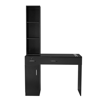 15 Cm E0 Particleboard Pitted Surface 1 Door 2 Drawers 3 Layer Rack With Legs Hairdressing Cabinet With Lock Salon Cabinet Black