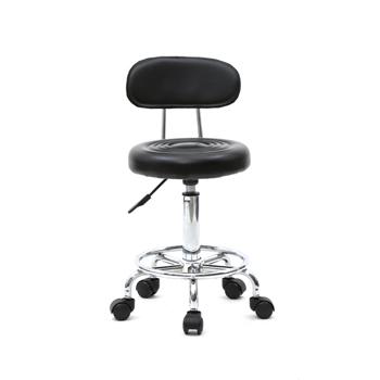 Round Shape Adjustable Salon Stool with Back and Line Black