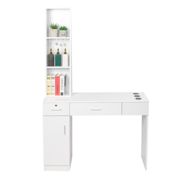 15 Cm E0 Particleboard Pitted Surface 1 Door 2 Drawers 3 Layer Rack With Legs Hairdressing Cabinet With Lock Salon Cabinet White