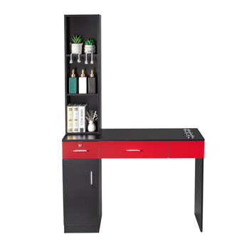 15 Cm E0 Particleboard Pitted Surface, 1 Door, 2 Drawers, 3-Layer Rack With Legs, Hairdressing Cabinet With Lock, Salon Cabinet, Black And Red