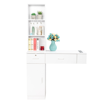 Wall Mount Beauty Salon Spa Mirrors Station Hair Styling Station Desk White