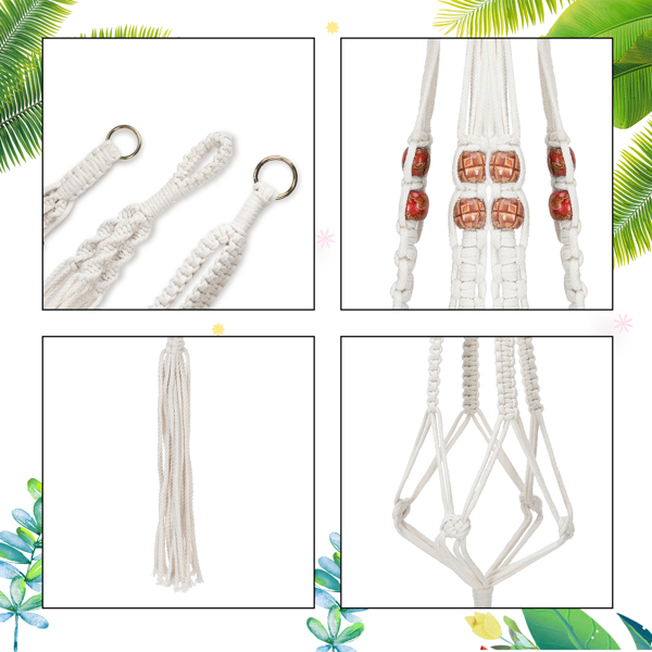 5 Packs Macrame Plant Hangers with 5 Hooks, Different Tiers, Handmade Cotton Rope Hanging Planters Set Flower Pots Holder Stand, for Indoor Outdoor Boho Home Decor