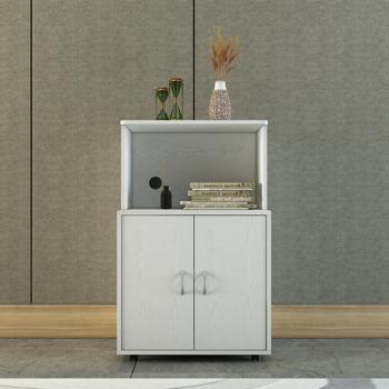 Freestanding Kitchen Buffet Hutch Cupboard have wheels with 2 Doors、1 open shelf