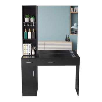 15 Cm E0 Particleboard Pitted Surface 1 Door 2 Drawers 3 Layers Rack With Legs Hairdressing Cabinet With Lock And Mirror Salon Cabinet Black