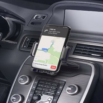 【Bans sale on Amazon】051 Car Phone Mount with CD Slot , Car Holdert with Three-Side Grips and One-Touch Design