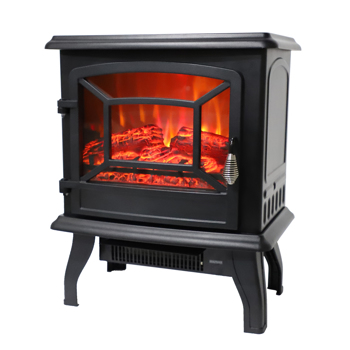 ZOKOP SF507-17 17 inch 1400w Freestanding Fireplace Fake Wood/Single Color/Heating Wire/A Rocker Flame Switch Button/a Rocker Heating Switch Button/a Temperature Control Knob with NTC/Black