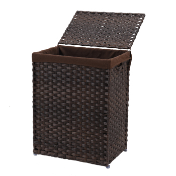 Handwoven Laundry Basket, Wicker Laundry Hamper, Synthetic Rattan Clothes Hamper with Lid and Handles, Foldable, Removable Liner Bag,Brown
