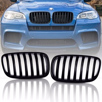 Front Gloss Black Kidney Grill Grilles For BMW X5 E70 X6 E71 2007-14