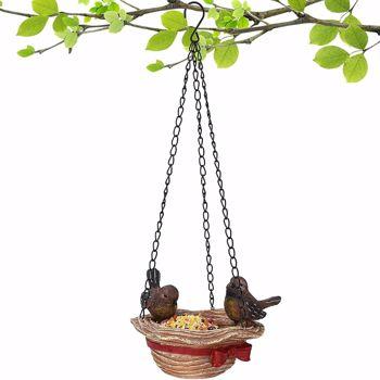 Bird Feeder Hanging Tray Hat Shape Statue Wild BirdTree Decor