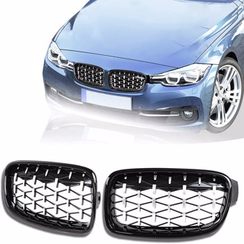 Pair Front Kidney Grille Diamond Bumper Mesh Grill For BMW F30 F31 F35 3-Series 12-18