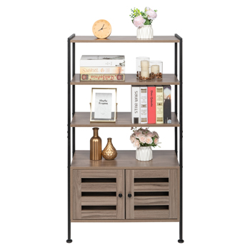 Bookshelf, Storage Cabinet with 3 Shelves and 2 Doors, Industrial Bookcase in Living Room, Study, Bedroom, Multifunctional, Gray