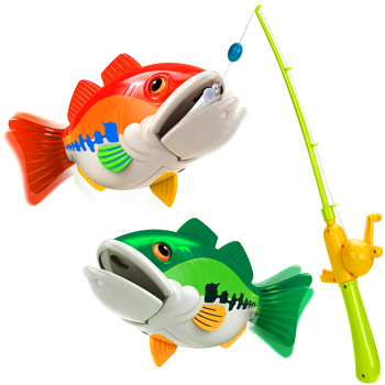 Kids Fishing Game Toy with 1 Adjustable Fishing Rod and 2 Realistic Fish, Pool Fishing Toy Set with Magnetic Bait, Safe and Durable Fishing Toy Gift (Prohibited Product on Amazon)
