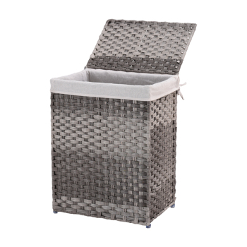 Handwoven Laundry Basket, Wicker Laundry Hamper, Synthetic Rattan Clothes Hamper with Lid and Handles, Foldable, Removable Liner Bag,Grey