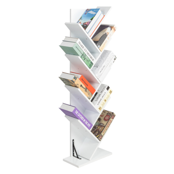 9-Shelf Bookcase Rack, Free Standing Book Storage Organizer,Wooden Tree Bookshelf,Storage for Books, Movies, Video Games, and CDs,White Color