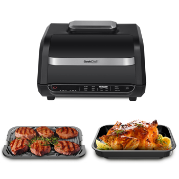 Geek Chef Airocook Smart 7-in-1 Indoor Electric Grill Air Fryer Family Large Capacity Grilled Pizza and Cyclone Grill Technology Countertop Grill Stainless Steel. Prohibit listing on Amazon