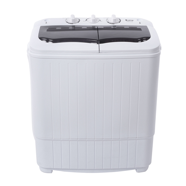 ZOKOP Compact Twin Tub with Built-in Drain Pump XPB35-ZK35 14.3(7.7 6.6)lbs Semi-automatic Gray Cover Washing Machine