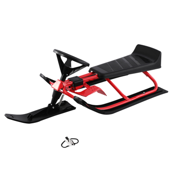Snow Racer Sled, Steering Ski Sled Slider with Steel Frame, Pull Rope & Twin Brakes for Kids Age 4 & up, Teenager & Adult, 45 x 20 x 15'' (Red & Black)